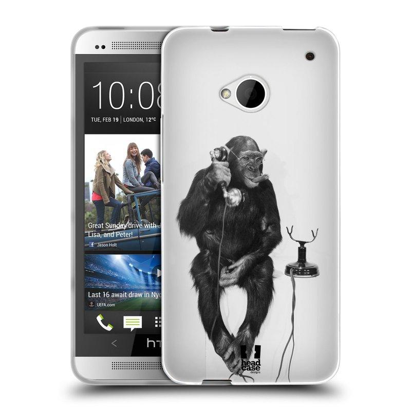 Silikonové pouzdro na mobil HTC ONE M7 HEAD CASE OPIČÁK S TELEFONEM (Silikonový kryt či obal na mobilní telefon HTC ONE M7)