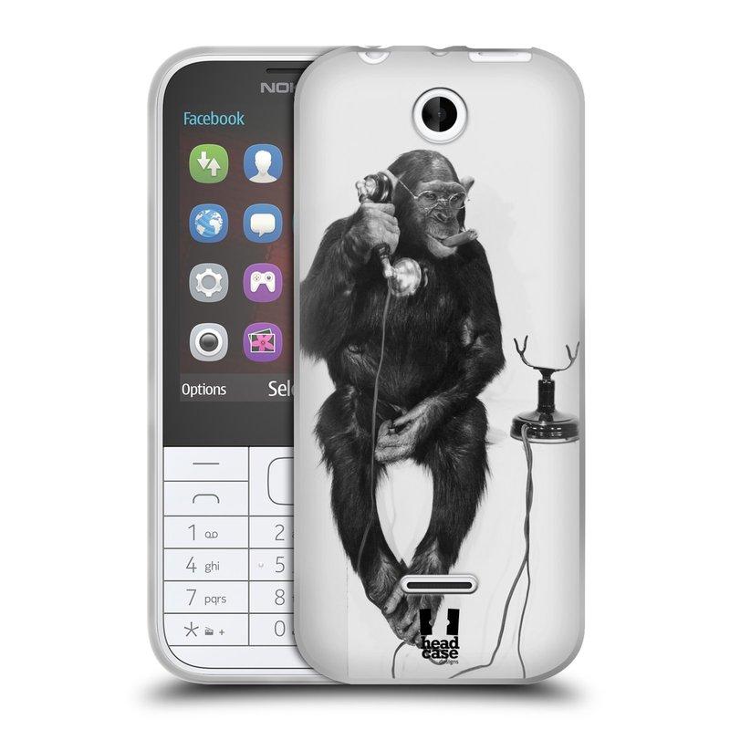 Silikonové pouzdro na mobil Nokia 225 HEAD CASE OPIČÁK S TELEFONEM (Silikonový kryt či obal na mobilní telefon Nokia 225)