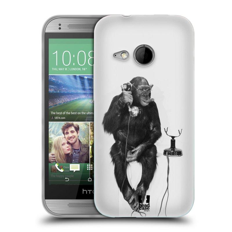 Silikonové pouzdro na mobil HTC ONE Mini 2 HEAD CASE OPIČÁK S TELEFONEM (Silikonový kryt či obal na mobilní telefon HTC ONE Mini 2)