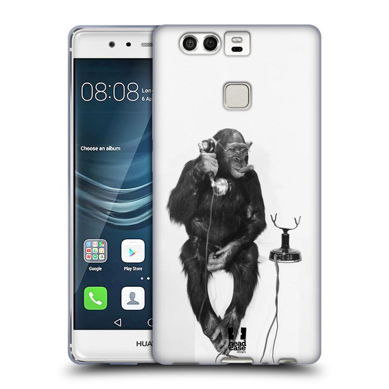 Silikonové pouzdro na mobil Huawei P9 HEAD CASE OPIČÁK S TELEFONEM (Silikonový kryt či obal na mobilní telefon Huawei P9)