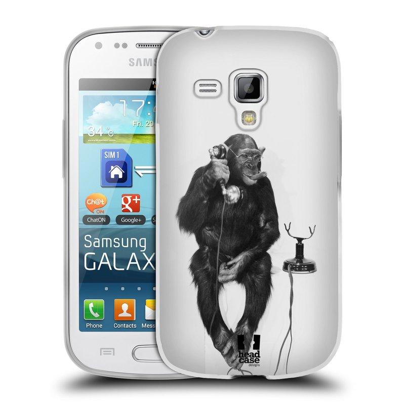 Silikonové pouzdro na mobil Samsung Galaxy S Duos HEAD CASE OPIČÁK S TELEFONEM (Silikonový kryt či obal na mobilní telefon Samsung Galaxy S Duos GT-S7562)