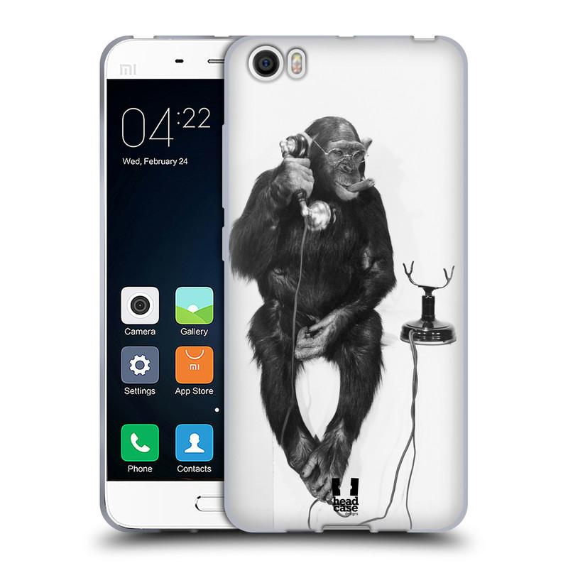 Silikonové pouzdro na mobil Xiaomi Mi5 HEAD CASE OPIČÁK S TELEFONEM (Silikonový kryt či obal na mobilní telefon Xiaomi Mi5)
