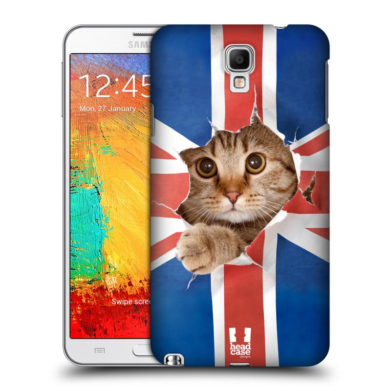 Plastové pouzdro na mobil Samsung Galaxy Note 3 Neo HEAD CASE KOČKA A VLAJKA (Kryt či obal na mobilní telefon Samsung Galaxy Note 3 Neo SM-N7505)