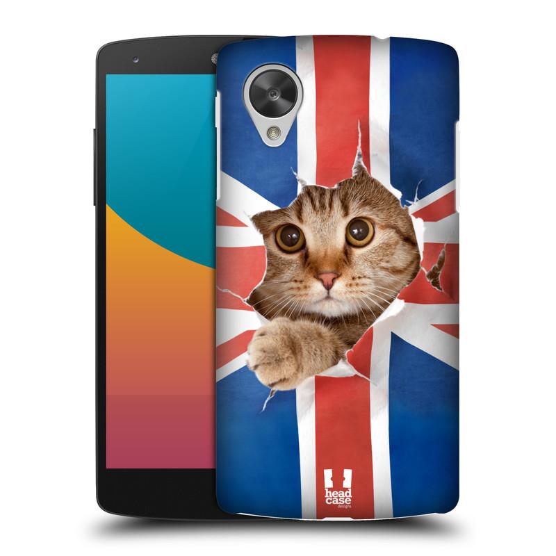 Plastové pouzdro na mobil LG Nexus 5 HEAD CASE KOČKA A VLAJKA (Kryt či obal na mobilní telefon LG Google Nexus 5 D821)
