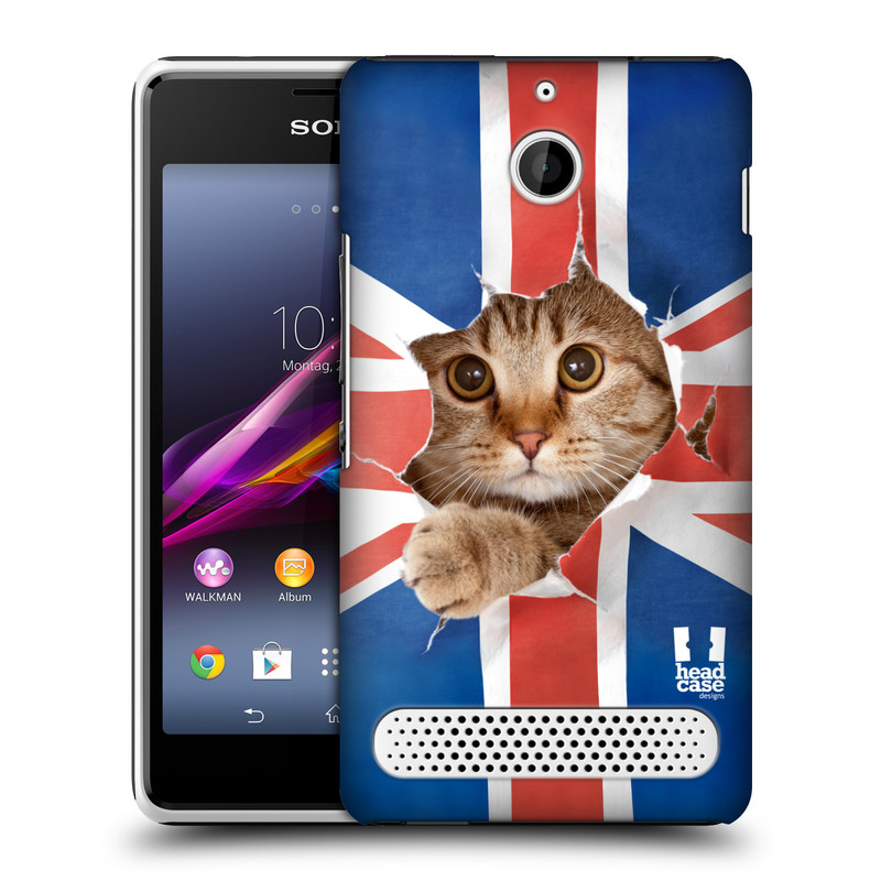 Plastové pouzdro na mobil Sony Xperia E1 D2005 HEAD CASE KOČKA A VLAJKA (Kryt či obal na mobilní telefon Sony Xperia E1 a E1 Dual )