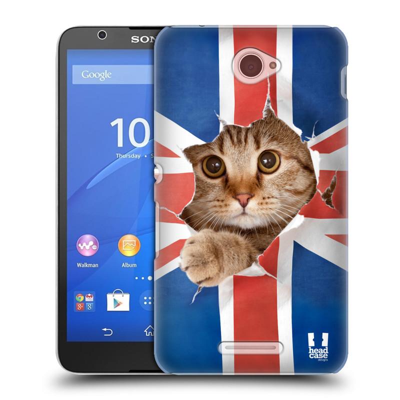 Plastové pouzdro na mobil Sony Xperia E4 E2105 HEAD CASE KOČKA A VLAJKA (Kryt či obal na mobilní telefon Sony Xperia E4 a E4 Dual SIM)