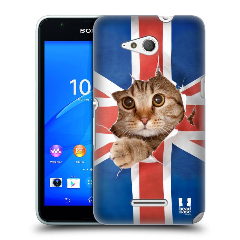 Plastové pouzdro na mobil Sony Xperia E4g E2003 HEAD CASE KOČKA A VLAJKA (Kryt či obal na mobilní telefon Sony Xperia E4g a E4g Dual SIM)