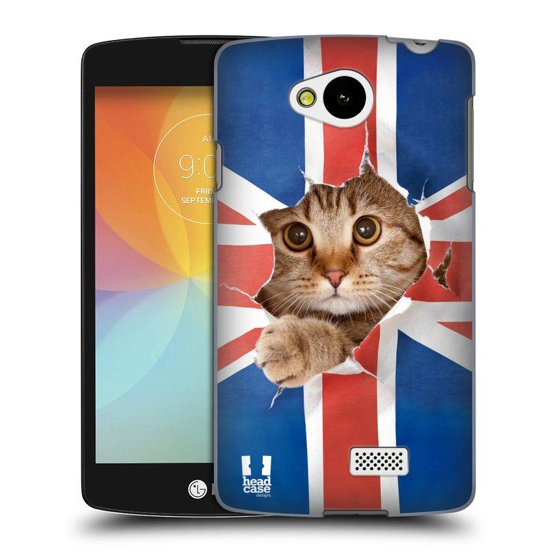 Plastové pouzdro na mobil LG F60 HEAD CASE KOČKA A VLAJKA (Kryt či obal na mobilní telefon LG F60 D390n)