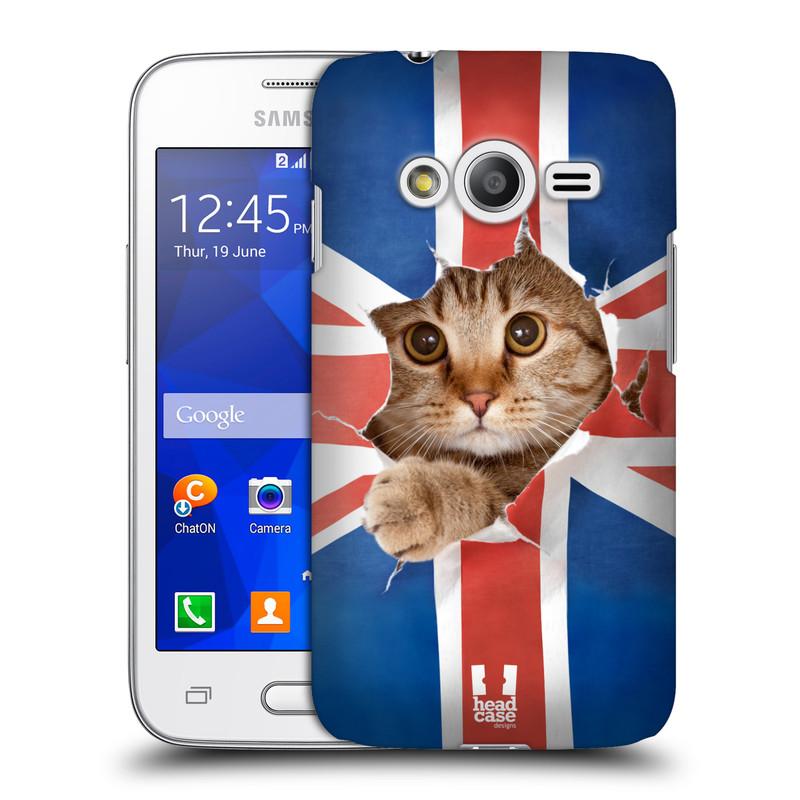 Plastové pouzdro na mobil Samsung Galaxy Trend 2 Lite HEAD CASE KOČKA A VLAJKA (Kryt či obal na mobilní telefon Samsung Galaxy Trend 2 Lite SM-G318)