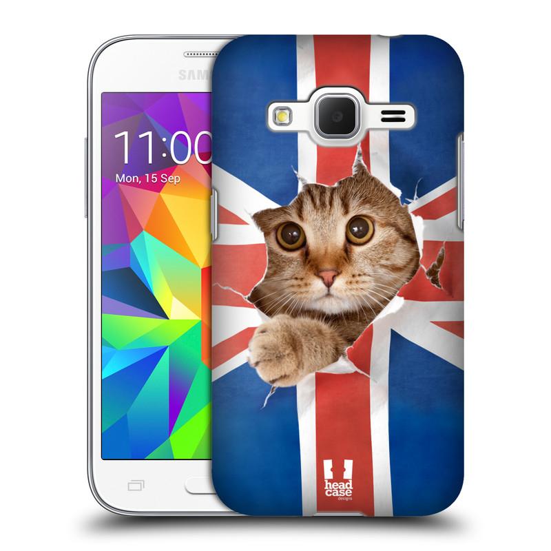 Plastové pouzdro na mobil Samsung Galaxy Core Prime LTE HEAD CASE KOČKA A VLAJKA (Kryt či obal na mobilní telefon Samsung Galaxy Core Prime LTE SM-G360)