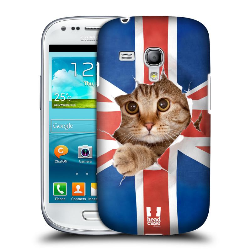 Plastové pouzdro na mobil Samsung Galaxy S III Mini HEAD CASE KOČKA A VLAJKA (Kryt či obal na mobilní telefon Samsung Galaxy S III Mini GT-i8190)