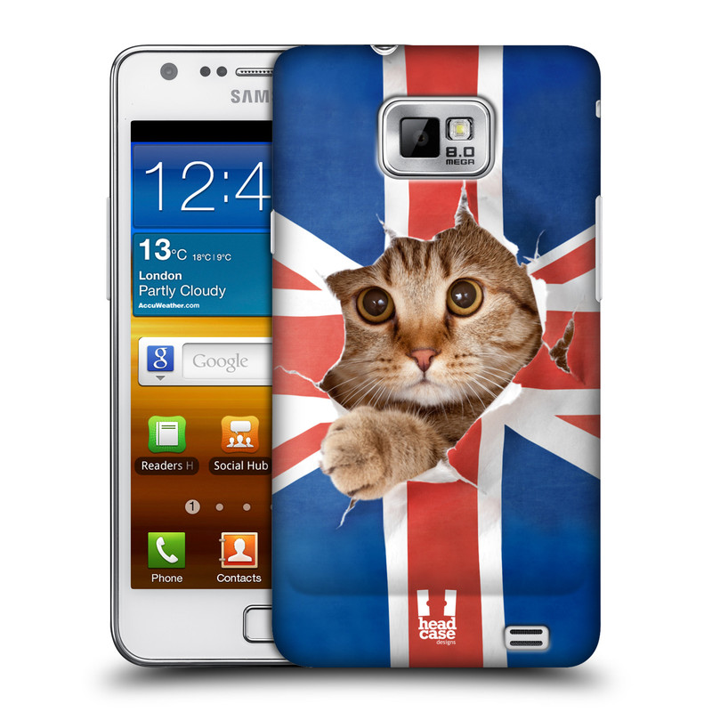 Plastové pouzdro na mobil Samsung Galaxy S II HEAD CASE KOČKA A VLAJKA (Kryt či obal na mobilní telefon Samsung Galaxy S II GT-i9100)