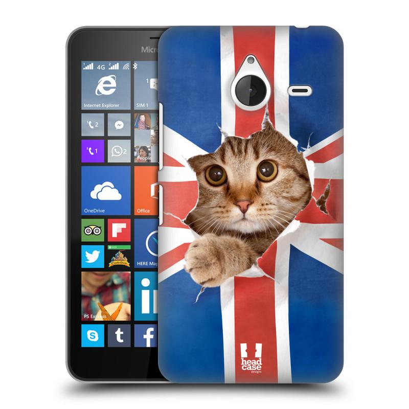 Plastové pouzdro na mobil Microsoft Lumia 640 XL HEAD CASE KOČKA A VLAJKA (Kryt či obal na mobilní telefon Microsoft Lumia 640 XL)