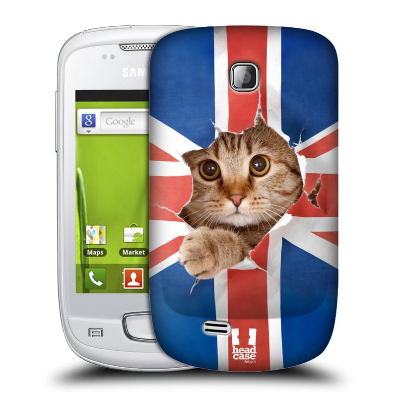 Plastové pouzdro na mobil Samsung Galaxy Mini HEAD CASE KOČKA A VLAJKA (Kryt či obal na mobilní telefon Samsung Galaxy Mini GT-S5570 / GT-S5570i)