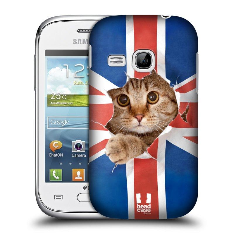 Plastové pouzdro na mobil Samsung Galaxy Young HEAD CASE KOČKA A VLAJKA (Kryt či obal na mobilní telefon Samsung Galaxy Young GT-S6310)