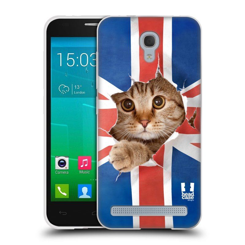 Silikonové pouzdro na mobil Alcatel One Touch Idol 2 Mini S 6036Y HEAD CASE KOČKA A VLAJKA (Silikonový kryt či obal na mobilní telefon Alcatel Idol 2 Mini S OT-6036Y)