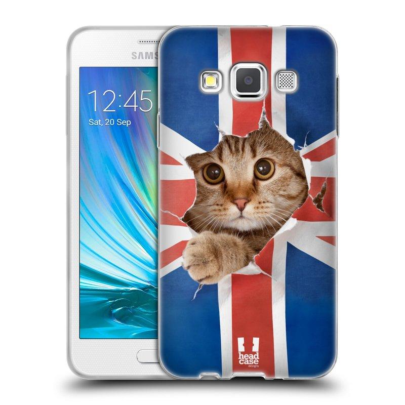 Silikonové pouzdro na mobil Samsung Galaxy A3 HEAD CASE KOČKA A VLAJKA (Silikonový kryt či obal na mobilní telefon Samsung Galaxy A3 SM-A300)