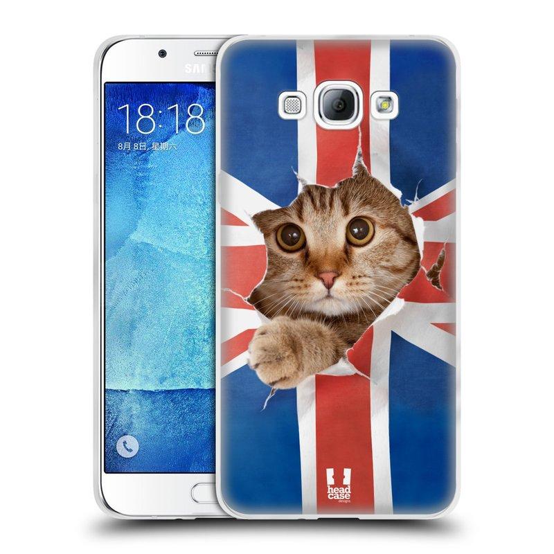 Silikonové pouzdro na mobil Samsung Galaxy A8 HEAD CASE KOČKA A VLAJKA (Silikonový kryt či obal na mobilní telefon Samsung Galaxy A8 SM-A800)