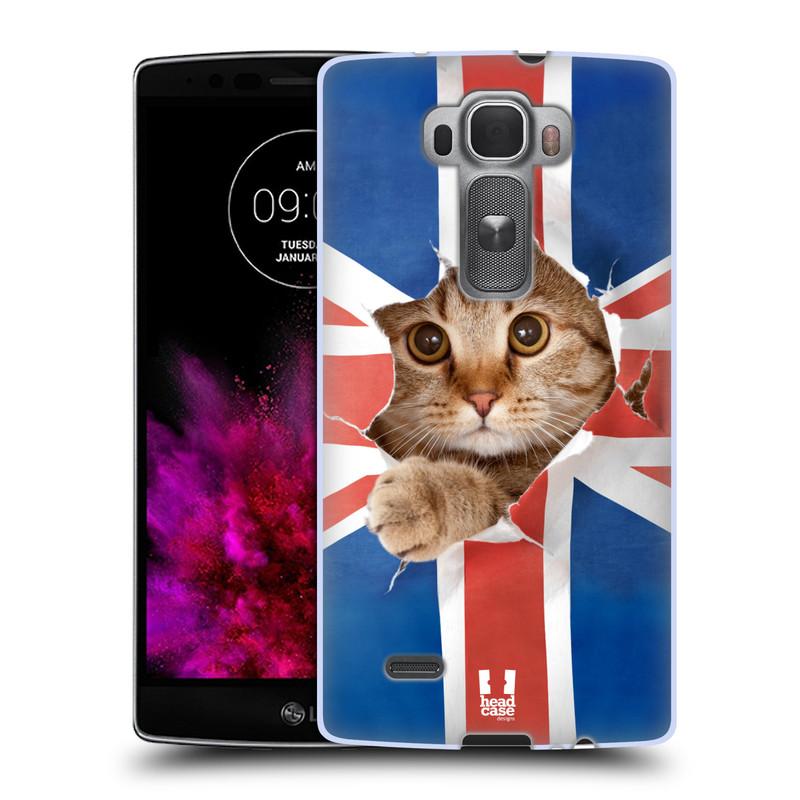 Silikonové pouzdro na mobil LG G Flex 2 HEAD CASE KOČKA A VLAJKA (Silikonový kryt či obal na mobilní telefon LG G Flex 2 H955)