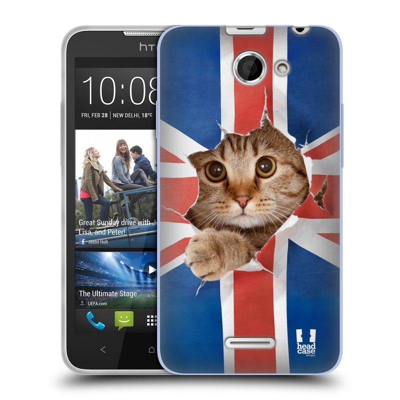 Silikonové pouzdro na mobil HTC Desire 516 HEAD CASE KOČKA A VLAJKA (Silikonový kryt či obal na mobilní telefon HTC Desire 516 Dual SIM)