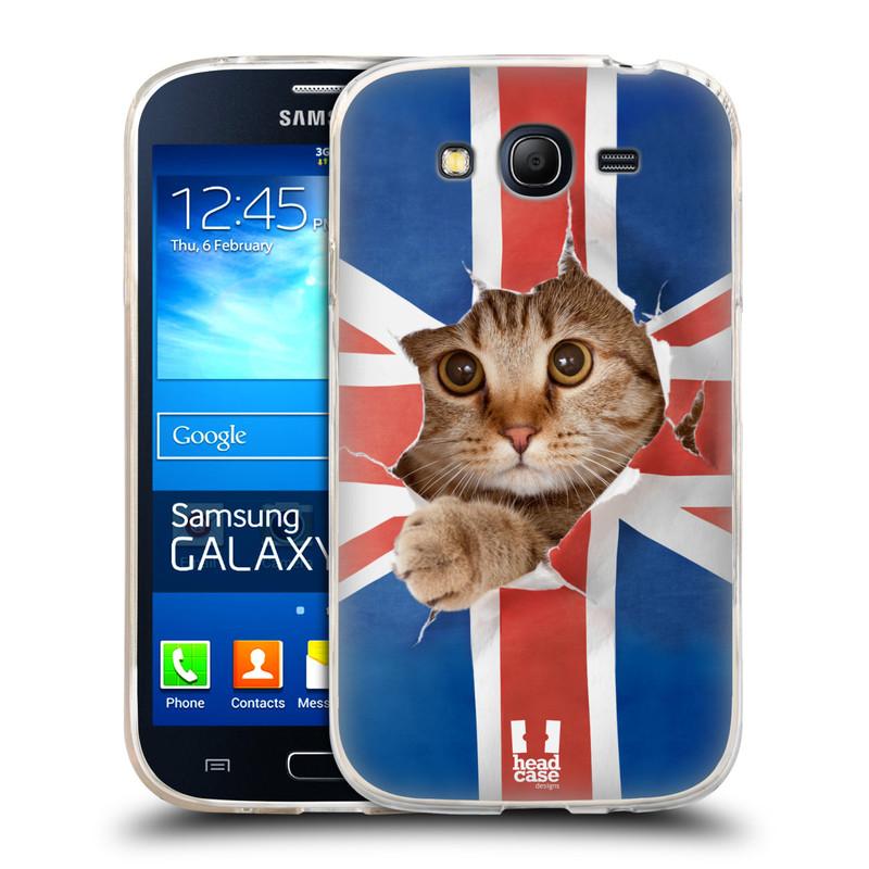 Silikonové pouzdro na mobil Samsung Galaxy Grand Neo HEAD CASE KOČKA A VLAJKA (Silikonový kryt či obal na mobilní telefon Samsung Galaxy Grand Neo GT-I9060)