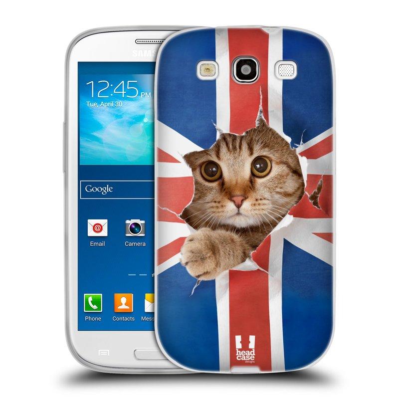 Silikonové pouzdro na mobil Samsung Galaxy S3 Neo HEAD CASE KOČKA A VLAJKA (Silikonový kryt či obal na mobilní telefon Samsung Galaxy S3 Neo GT-i9301i)