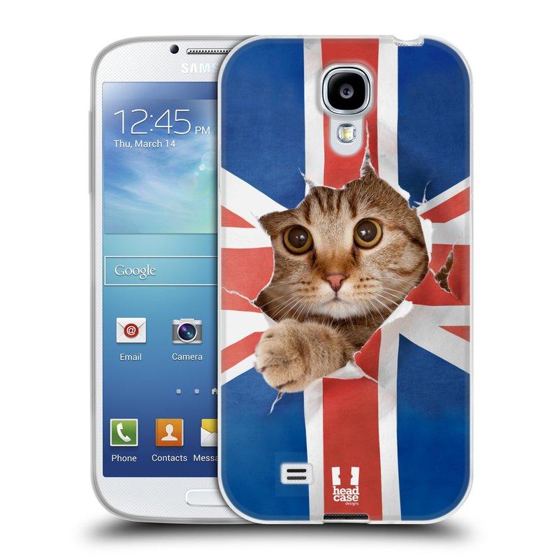 Silikonové pouzdro na mobil Samsung Galaxy S4 HEAD CASE KOČKA A VLAJKA (Silikonový kryt či obal na mobilní telefon Samsung Galaxy S4 GT-i9505 / i9500)