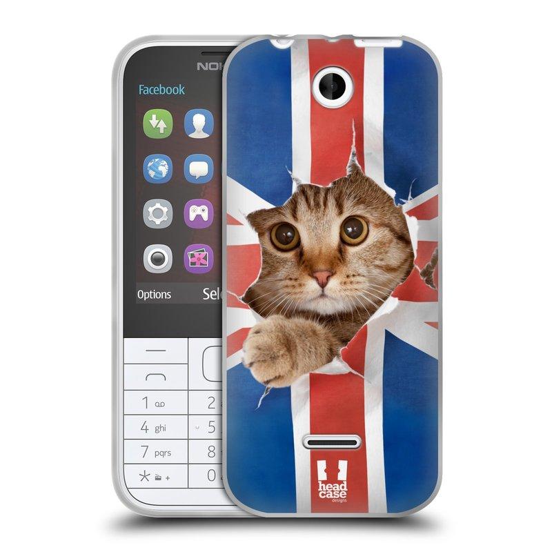 Silikonové pouzdro na mobil Nokia 225 HEAD CASE KOČKA A VLAJKA (Silikonový kryt či obal na mobilní telefon Nokia 225)