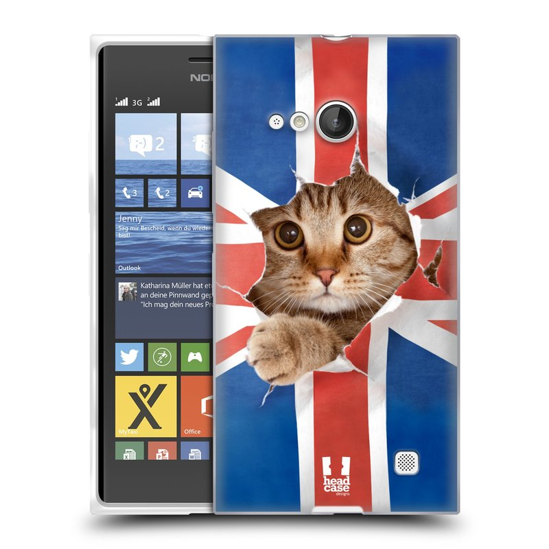 Silikonové pouzdro na mobil Nokia Lumia 730 Dual SIM HEAD CASE KOČKA A VLAJKA (Silikonový kryt či obal na mobilní telefon Nokia Lumia 730 Dual SIM)