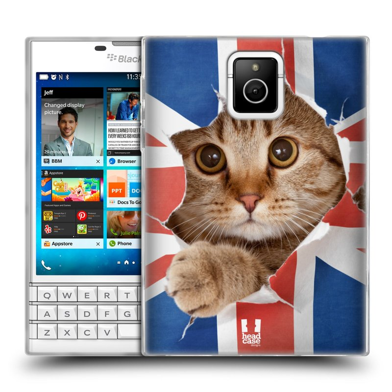 Silikonové pouzdro na mobil Blackberry PASSPORT HEAD CASE KOČKA A VLAJKA (Silikonový kryt či obal na mobilní telefon Blackberry PASSPORT)