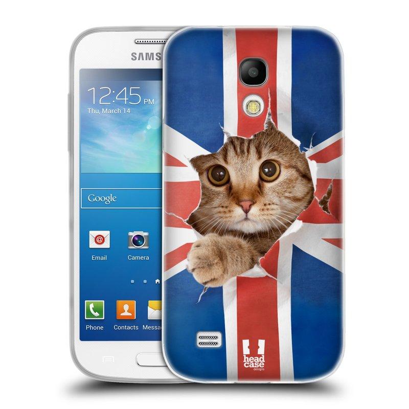 Silikonové pouzdro na mobil Samsung Galaxy S4 Mini HEAD CASE KOČKA A VLAJKA (Silikonový kryt či obal na mobilní telefon Samsung Galaxy S4 Mini GT-i9195 / i9190 (nepasuje na verzi Black Edition))