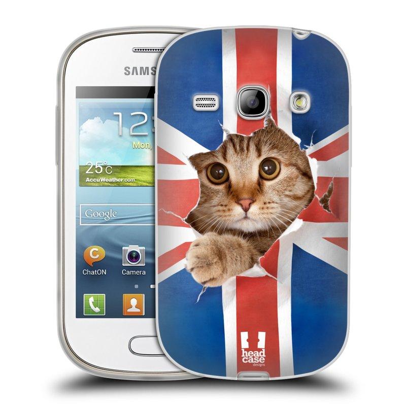 Silikonové pouzdro na mobil Samsung Galaxy Fame HEAD CASE KOČKA A VLAJKA (Silikonový kryt či obal na mobilní telefon Samsung Galaxy Fame GT-S6810)