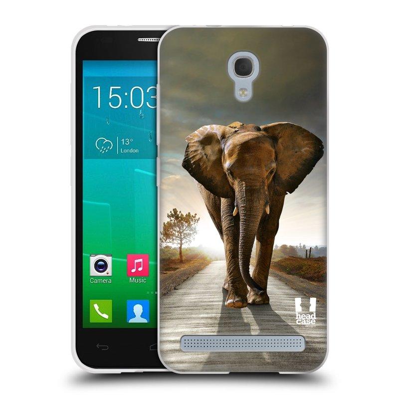 Silikonové pouzdro na mobil Alcatel One Touch Idol 2 Mini S 6036Y HEAD CASE DIVOČINA – SLON (Silikonový kryt či obal na mobilní telefon Alcatel Idol 2 Mini S OT-6036Y)