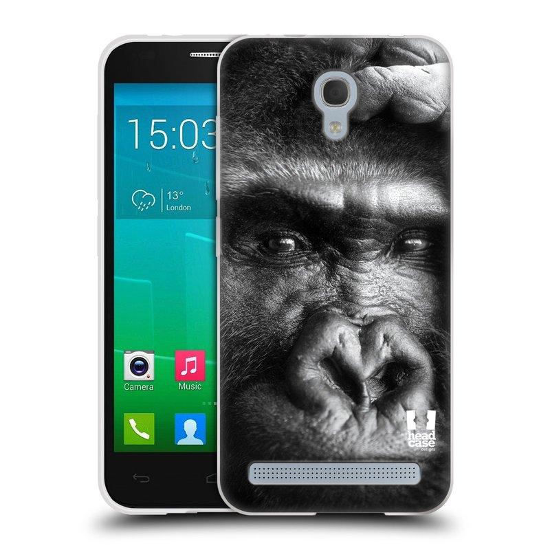 Silikonové pouzdro na mobil Alcatel One Touch Idol 2 Mini S 6036Y HEAD CASE DIVOČINA – GORILA (Silikonový kryt či obal na mobilní telefon Alcatel Idol 2 Mini S OT-6036Y)