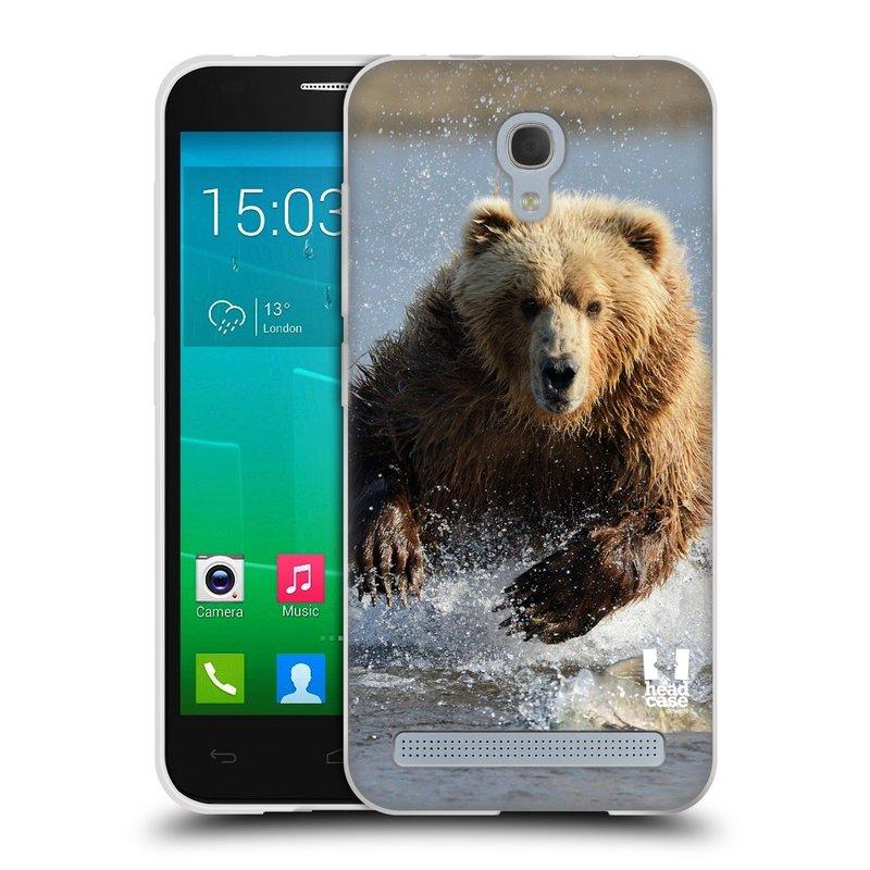 Silikonové pouzdro na mobil Alcatel One Touch Idol 2 Mini S 6036Y HEAD CASE DIVOČINA – GRIZZLY (Silikonový kryt či obal na mobilní telefon Alcatel Idol 2 Mini S OT-6036Y)