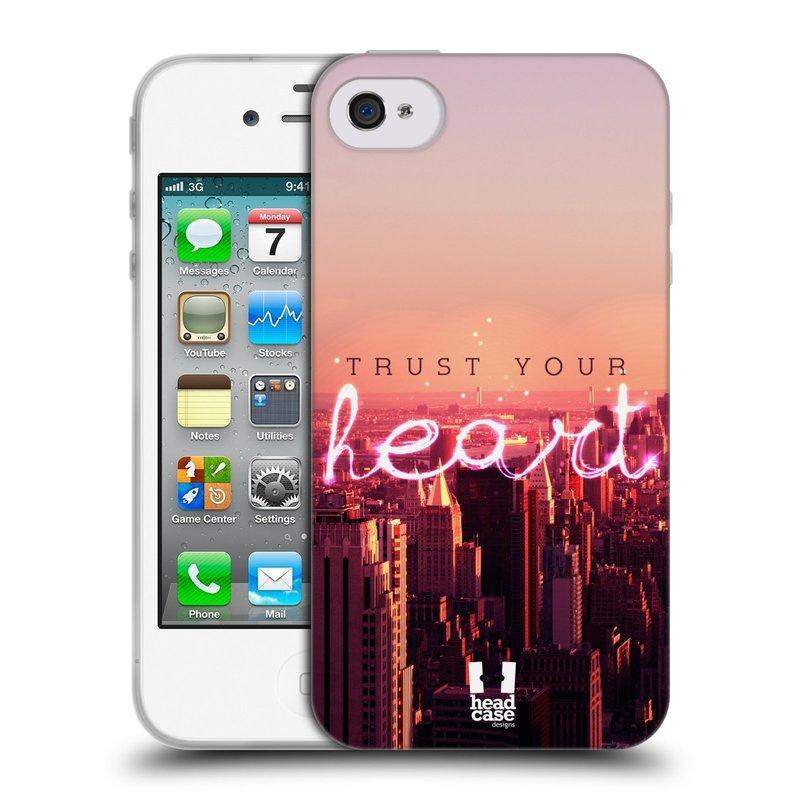 Silikonové pouzdro na mobil Apple iPhone 4 a 4S HEAD CASE TRUST YOUR HEART (Silikonový kryt či obal na mobilní telefon Apple iPhone 4 a 4S)