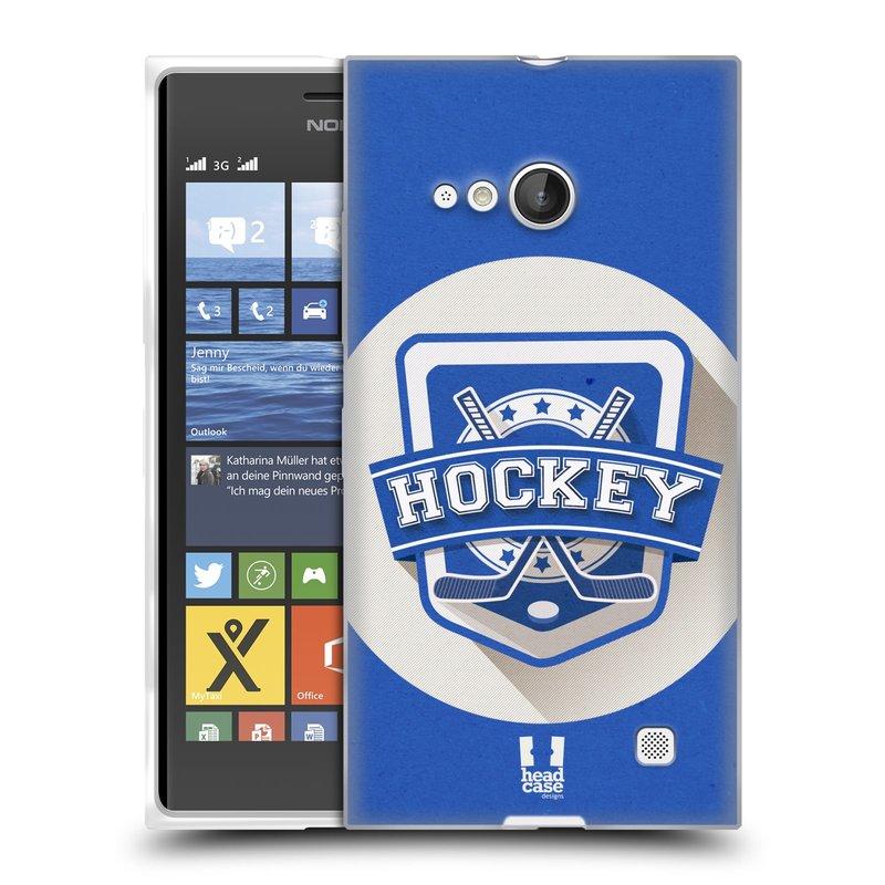 Silikonové pouzdro na mobil Nokia Lumia 735 HEAD CASE HOKEJ (Silikonový kryt či obal na mobilní telefon Nokia Lumia 735)