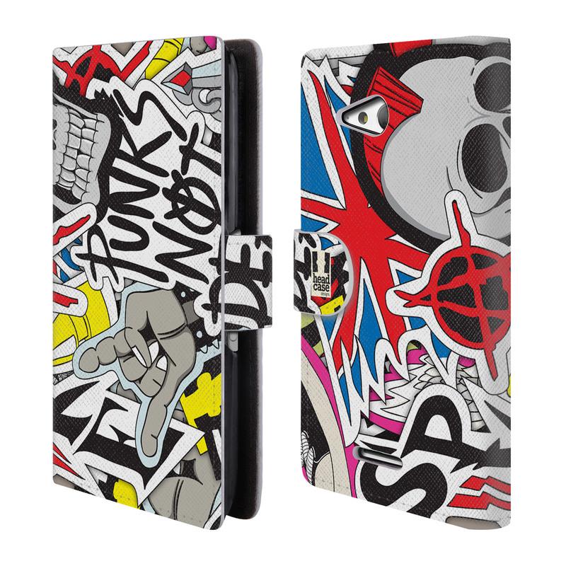 Flipové pouzdro na mobil Sony Xperia E4g HEAD CASE Punks Not Dead (Flipový vyklápěcí kryt či obal z umělé kůže na mobilní telefon Sony Xperia E4G E2003)