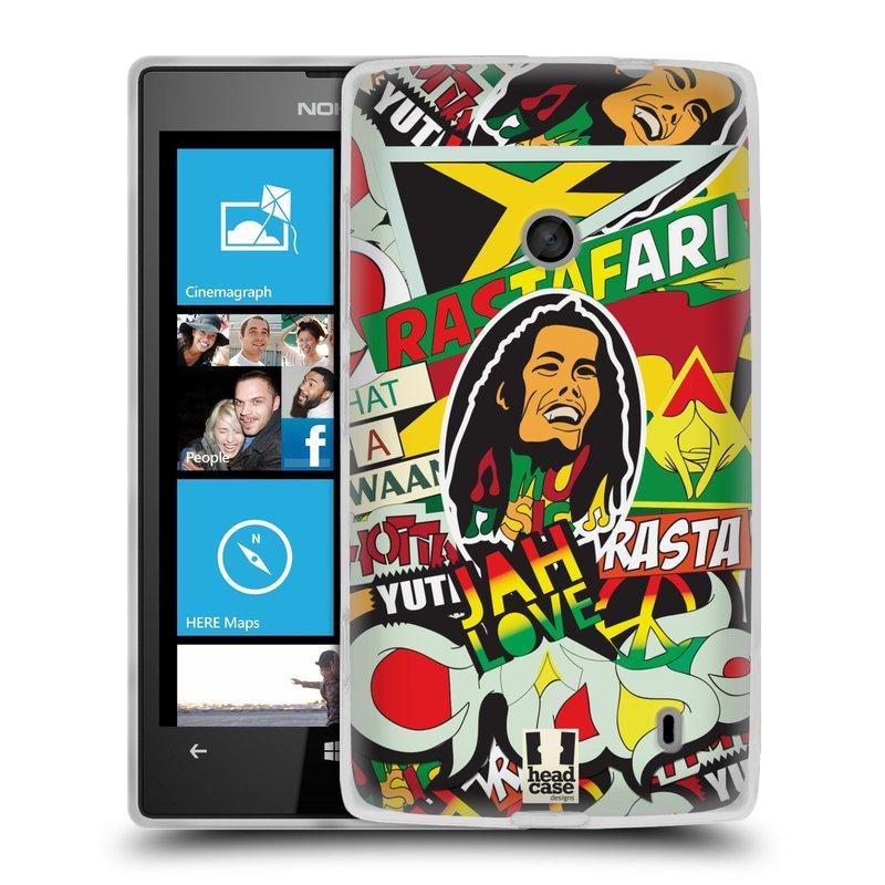 Silikonové pouzdro na mobil Nokia Lumia 520 HEAD CASE RASTA (Silikonový Kryt či obal na mobilní telefon Nokia Lumia 520)