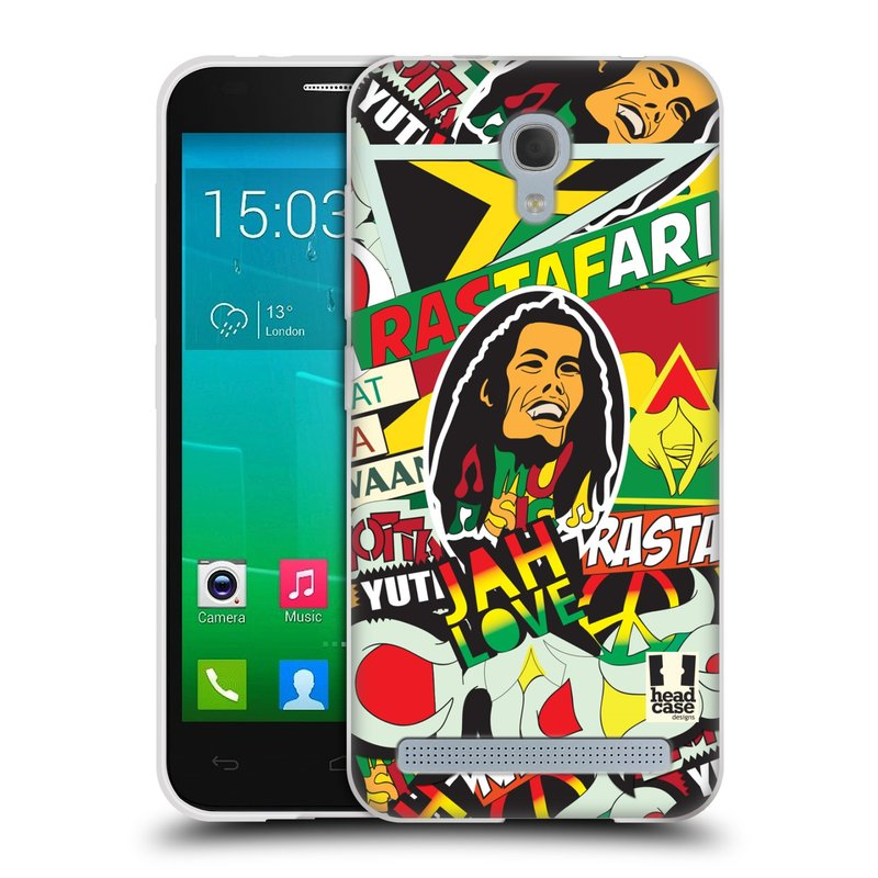 Silikonové pouzdro na mobil Alcatel One Touch Idol 2 Mini S 6036Y HEAD CASE RASTA (Silikonový kryt či obal na mobilní telefon Alcatel Idol 2 Mini S OT-6036Y)