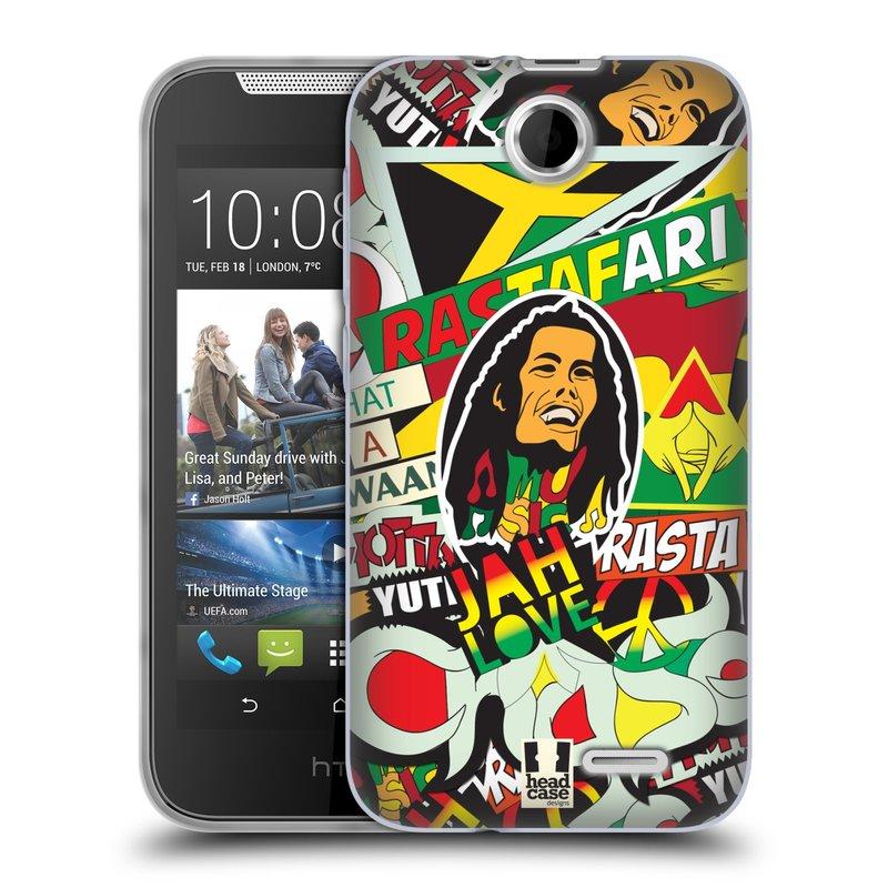 Silikonové pouzdro na mobil HTC Desire 310 HEAD CASE RASTA (Silikonový kryt či obal na mobilní telefon HTC Desire 310)