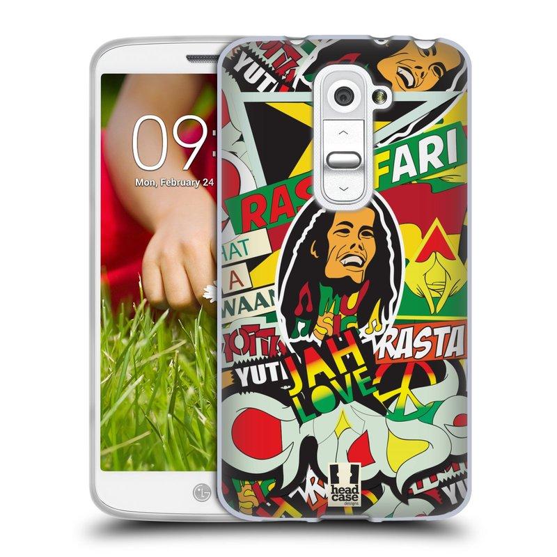Silikonové pouzdro na mobil LG G2 Mini HEAD CASE RASTA (Silikonový kryt či obal na mobilní telefon LG G2 Mini D620)