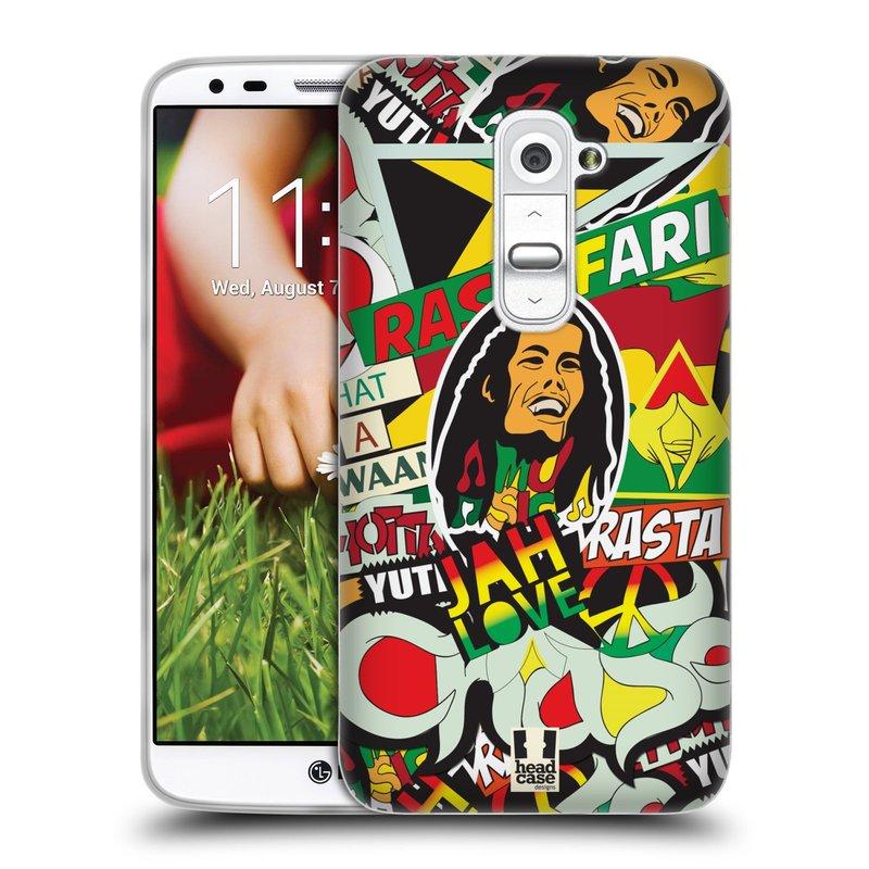 Silikonové pouzdro na mobil LG G2 HEAD CASE RASTA (Silikonový kryt či obal na mobilní telefon LG G2 D802)