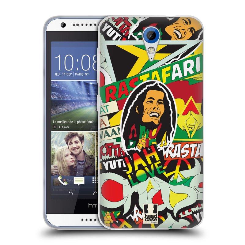 Silikonové pouzdro na mobil HTC Desire 620 HEAD CASE RASTA (Silikonový kryt či obal na mobilní telefon HTC Desire 620)