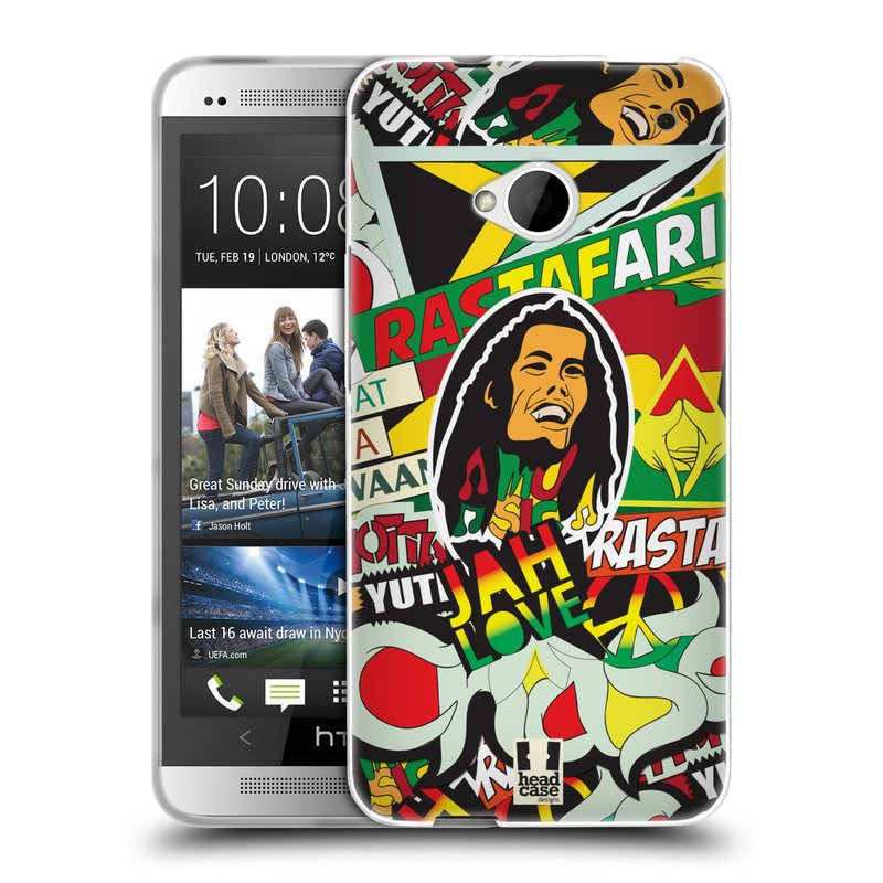Silikonové pouzdro na mobil HTC ONE M7 HEAD CASE RASTA (Silikonový kryt či obal na mobilní telefon HTC ONE M7)