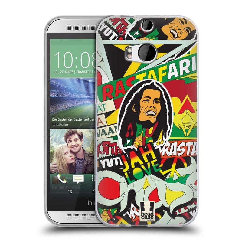 Silikonové pouzdro na mobil HTC ONE M8 HEAD CASE RASTA (Silikonový kryt či obal na mobilní telefon HTC ONE M8)