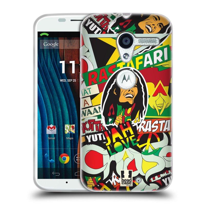 Silikonové pouzdro na mobil Motorola Moto X HEAD CASE RASTA (Silikonový kryt či obal na mobilní telefon Motorola Moto X)