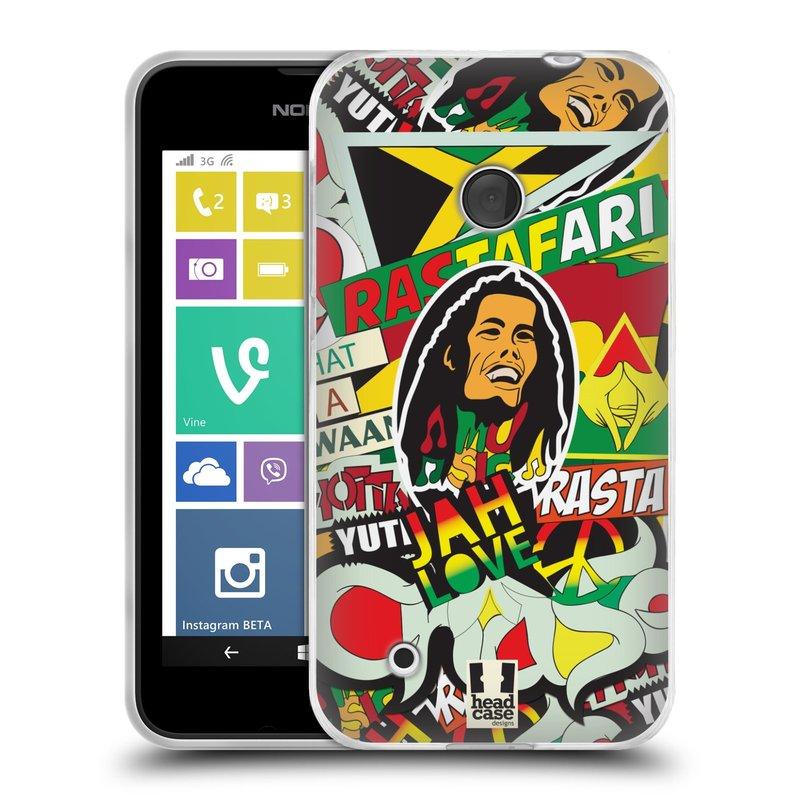 Silikonové pouzdro na mobil Nokia Lumia 530 HEAD CASE RASTA (Silikonový kryt či obal na mobilní telefon Nokia Lumia 530)