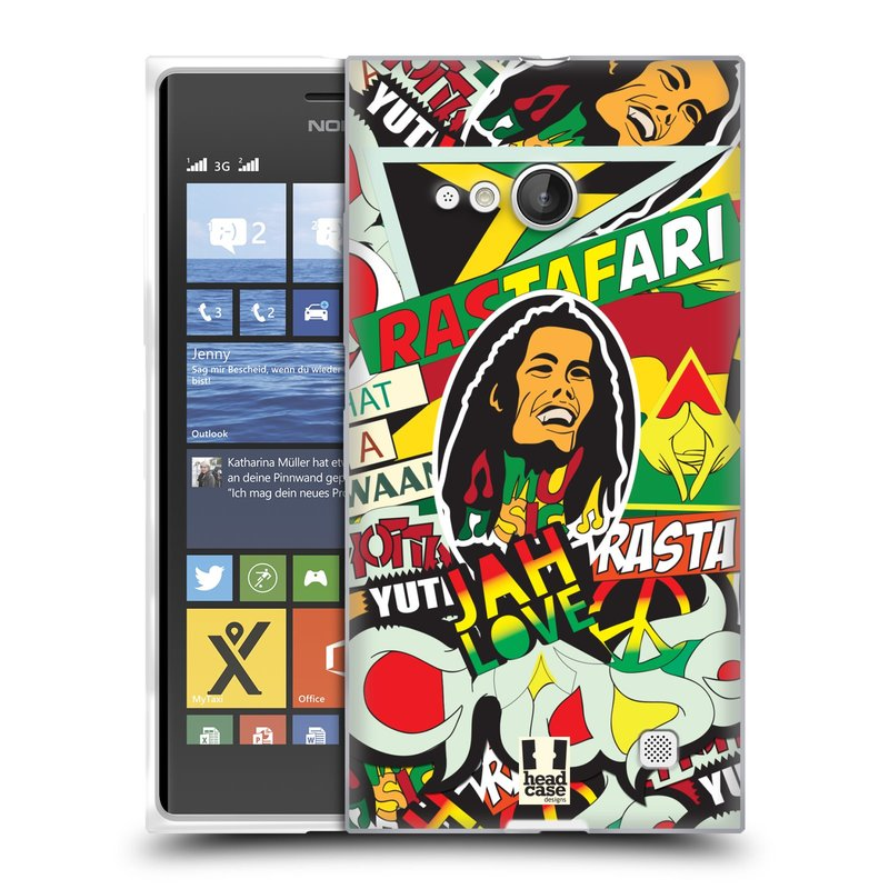 Silikonové pouzdro na mobil Nokia Lumia 730 Dual SIM HEAD CASE RASTA (Silikonový kryt či obal na mobilní telefon Nokia Lumia 730 Dual SIM)