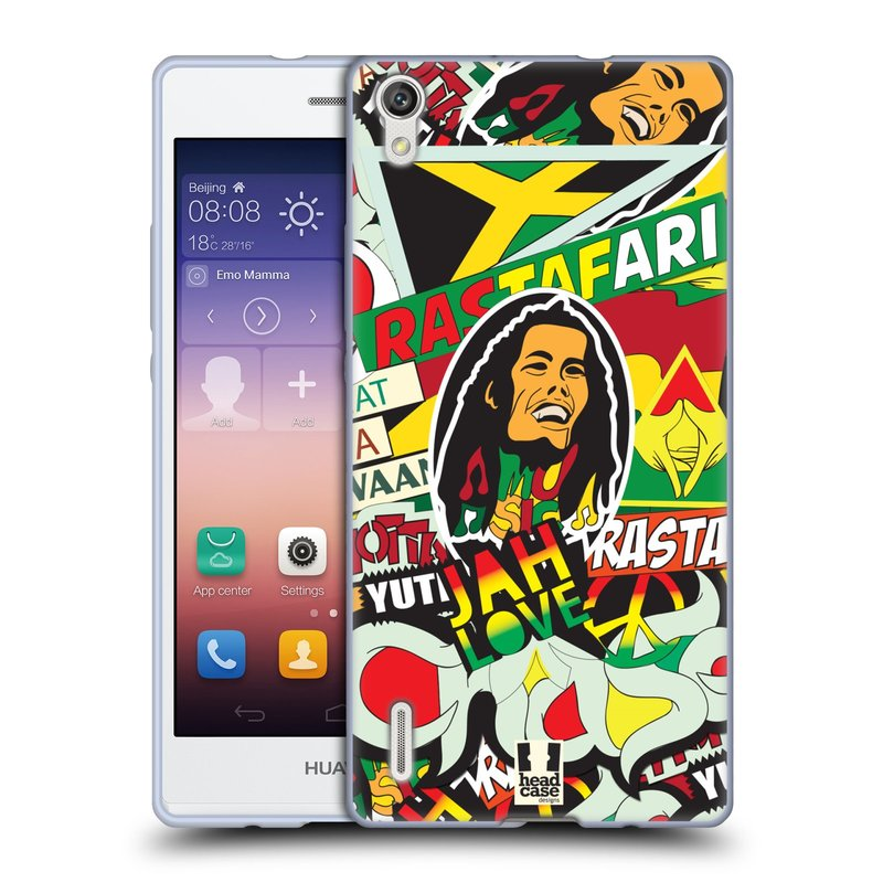 Silikonové pouzdro na mobil Huawei P7 HEAD CASE RASTA (Silikonový kryt či obal na mobilní telefon Huawei Ascend P7)